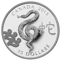 2013 Canada $15 Zodiac Year of the Snake Fine Silver Coin (TAX Exempt)