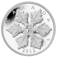 2012 Canada $20 Holiday Snowflake with Swarovski Crystal Fine Silver (No Tax)