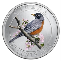 2013 25-cent Birds of Canada - American Robin