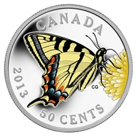 2013 50-cent Butterflies of Canada - Tiger Swallowtail Silver Plated