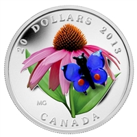 2013 Canada $20 Purple Coneflower & Eastern Tailed Blue Butterfly (No Tax) Scuffed
