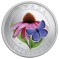 2013 Canada 25-cent Flower & Fauna Purple Coneflower & Eastern Tailed Blue Butterfly