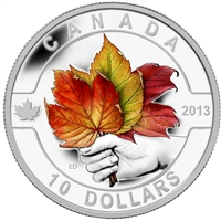 2013 $10 O Canada - Maple Leaf Coloured Fine Silver Coin (TAX Exempt) Scratched