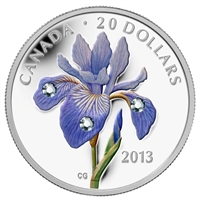 2013 Canada $20 Swarovski Crystals - Blue Flag Iris Fine Silver (No Tax)