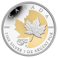 RDC 2013 Canada $5 Silver Maple Leaf with Selective Gold Plating (No Tax) Scratched