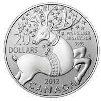 2012 Canada $20 Magical Reindeer ($20 for $20 #6) Fine Silver (No Tax)