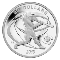 2013 Canada $20 Baseball - Hitter Fine Silver Coin (TAX Exempt)