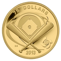 2013 Canada $75 Baseball Diamond 1/4oz. Fine Gold Coin (TAX Exempt)