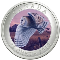 2013 25-cent Birds of Canada - Barn Owl