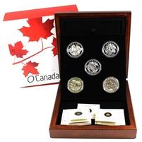 2013 O Canada $25 5-Coin Set in Deluxe Wooden Box (No Tax)
