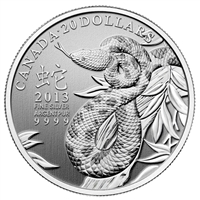 2013 Canada $20 Year of the Snake Fine Silver Coin (TAX Exempt)
