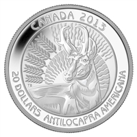 2013 $20 Untamed Canada - Pronghorn Antelope (#2) Fine Silver (No Tax)