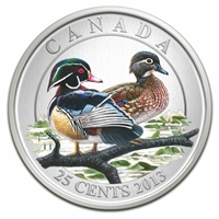 2013 Canada 25-cent Ducks of Canada - Wood Duck (#2) Coloured Cupronickel Coin