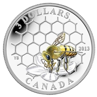 RDC 2013 Canada $3 Animal Architects - Bee & Hive Fine Silver (No Tax) Scratched