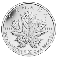 2013 Canada $50 Silver Maple Leaf 25th Anniversary 5oz Silver (No Tax)