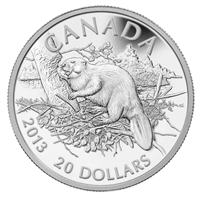 2013 Canada $20 The Beaver Fine Silver Coin (TAX Exempt)