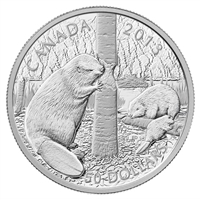2013 Canada $50 The Beaver 5oz. Fine Silver Coin (TAX Exempt).