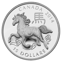 2014 Canada $15 Zodiac Year of The Horse Fine Silver (No Tax)