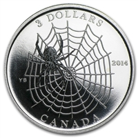 2014 Canada $3 Animal Architects - Spider & Web Fine Silver (No Tax) -