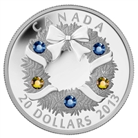 2013 Canada $20 Holiday Wreath with Crystals Fine Silver
