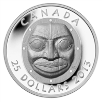 RDC 2013 Canada $25 Grandmother Moon Mask Fine Silver (No Tax) Lightly Scratched Capsule