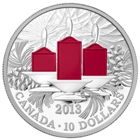 RDC 2013 Canada $10 Holiday Candles Fine Silver Coin (No Tax) impaired