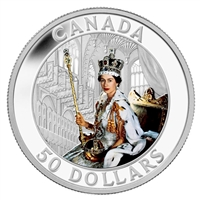 2013 Canada $50 Queen's Coronation Coloured 5oz. Fine Silver (No Tax)