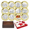 2013 $10 O Canada 12-coin Silver with Selective Gold Plating (No Tax)