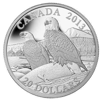 2013 Canada $20 The Bald Eagle - Lifelong Mates Fine Silver (No Tax)