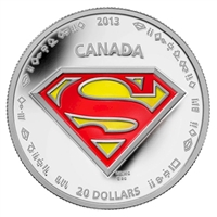2013 Canada $20 Superman's Shield Fine Silver (No Tax)