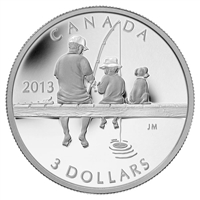2013 Canada $3 Fishing Fine Silver Coin (TAX Exempt) - Ref 126017.
