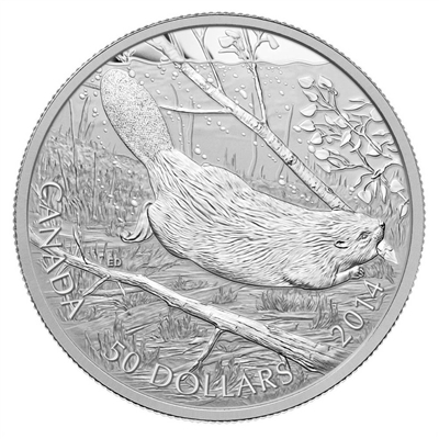 2014 Canada $50 Swimming Beaver 5oz. Fine Silver Coin (TAX Exempt)