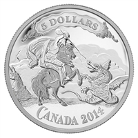 2014 $5 Canadian Bank Notes: Saint George Slaying the Dragon (No Tax)
