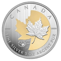 2013 Canada $50 25th Anniversary Silver Maple Leaf 5oz Silver (No Tax)