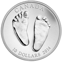 2014 Canada $10 Welcome to the World - Baby Feet Fine Silver (No Tax)