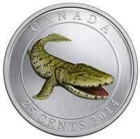 2014 Canada 25-cent Prehistoric Creatures - Tiktaalik Glow In The Dark