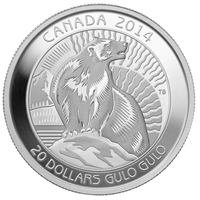 RDC 2014 $20 Untamed Canada - Wolverine Fine Silver (No Tax) - Impaired