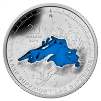 2014 Canada $20 The Great Lakes: Lake Superior (#1) Silver (No Tax)