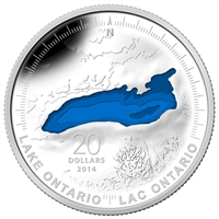 2014 Canada $20 The Great Lakes - Lake Ontario Fine Silver (No Tax)