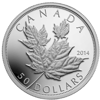 RDC 2014 Canada $50 Maple Leaves 5oz. Fine Silver Coin (TAX Exempt) Scuffed Capsule
