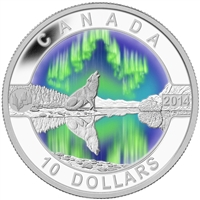 RDC 2014 $10 O Canada - The Northern Lights Coloured Fine Silver (No Tax) Scratched