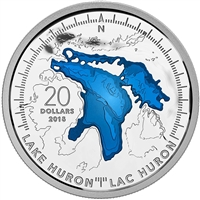 2015 Canada $20 The Great Lakes: Lake Huron Fine Silver (No Tax)