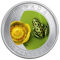 2014 Canada 25-cent Flower & Fauna - Water-Lily and Leopard Frog Cupronickel