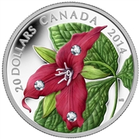 RDC 2014 Canada $20 Red Trillium with Crystal Dew Drops #5 (No Tax) Creased Sleeve