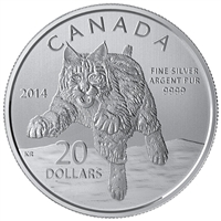 2014 Canada $20 Bobcat ($20 for $20 #12) Fine Silver (TAX Exempt)