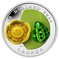 2014 Canada $20 Water-Lily & Venetian Glass Leopard Frog Silver (No Tax)