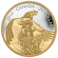 2014 Canada $20 Nanaboozhoo & the Thunderbird Gold Plated (No Tax)