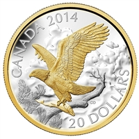2014 Canada $20 Gilded Perched Bald Eagle (TAX Exempt)
