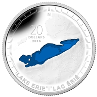 2014 Canada $20 The Great Lakes - Lake Erie (#3) Silver (No Tax)