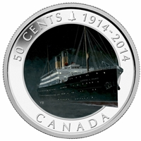 RDC 2014 Canada 50ct Lost Ships - RMS Empress of Ireland Silver Plated (Worn Sleeve)